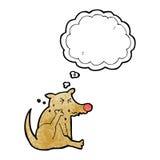 tecknad filmhund som skrapar med tankebubblan Royaltyfri Foto