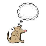 tecknad filmhund som skrapar med tankebubblan Arkivfoto