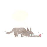tecknad filmhund som sniffar golvet med tankebubblan Royaltyfria Foton
