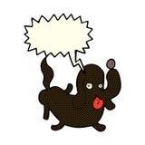 tecknad filmhund som ut klibbar tungan med anförandebubblan Royaltyfri Fotografi