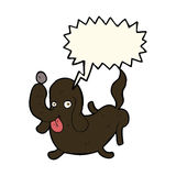 tecknad filmhund som ut klibbar tungan med anförandebubblan Fotografering för Bildbyråer