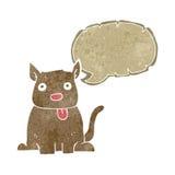 tecknad filmhund som ut klibbar tungan med anförandebubblan Royaltyfri Bild