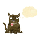 tecknad filmhund som ut klibbar tungan med tankebubblan Arkivfoton