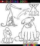 Tecknad filmhundar eller valpar för färgläggningbok Royaltyfri Fotografi