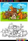 Tecknad filmhundar för färgläggningbok eller sida vektor illustrationer