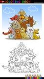 Tecknad filmhundar för färgläggningbok eller sida stock illustrationer