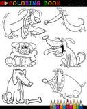 Tecknad filmhundar för färgläggningbok eller sida Fotografering för Bildbyråer