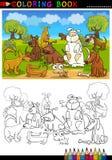 Tecknad filmhundar för färgläggningbok eller sida Royaltyfri Bild