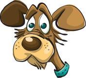 Tecknad filmhunds huvud i en krage stock illustrationer