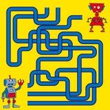 Tecknad filmillustration av banor eller Maze Puzzle Activity Game Ungar som lär leksamlingen arkivbilder