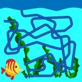 Tecknad filmillustration av banor eller Maze Puzzle Activity Game Ungar som lär leksamlingen Royaltyfria Bilder
