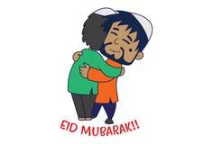 Tecknad filmillustration av den gulliga muslimska mannen royaltyfri illustrationer