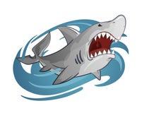 Tecknad filmillustration av den vita hajen Arkivbild