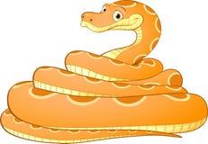 Tecknad filmillustration av en gul orm royaltyfri illustrationer