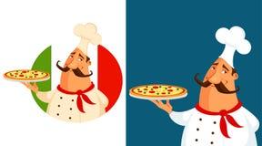 Tecknad filmillustration av en italiensk pizzakock Arkivbild