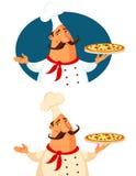 Tecknad filmillustration av en italiensk pizzakock Royaltyfri Bild