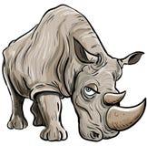 Tecknad filmillustration av en noshörning Royaltyfri Fotografi