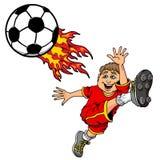 Tecknad filmillustration av en unge som sparkar en flammande fotbollboll royaltyfri illustrationer