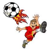 Tecknad filmillustration av en unge som sparkar en flammande gigantisk fotbollboll royaltyfri illustrationer