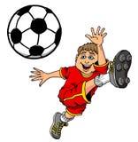 Tecknad filmillustration av en unge som sparkar en fotbollboll stock illustrationer