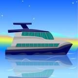 Tecknad filmillustration av ett skepp, fartyg, yacht, fartyg mot sen vektor illustrationer