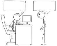 Tecknad filmillustration av framstickandechefen Talking med manlig anställd royaltyfri illustrationer