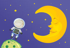 Tecknad filmillustration av pojken med månen Fotografering för Bildbyråer