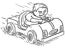 Tecknad filmillustration av pojken som kör elkraft- eller pedalbilen vektor illustrationer
