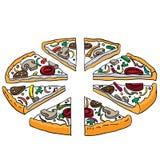 Tecknad filmillustration av smaklig skivad pizza Royaltyfria Bilder