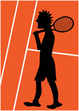 Tecknad filmillustration av tennisspelaren Royaltyfri Bild