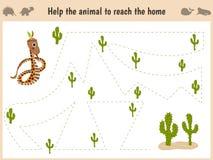 Tecknad filmillustration av utbildning Matcha leken för förskole- ungar spåra banan av ormen i öknen Utbildning och lekar royaltyfri fotografi