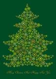 Tecknad filmillustration av vinterjulträdet Royaltyfri Bild