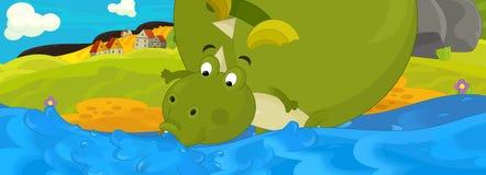 Tecknad filmillustration - den gröna draken Arkivbilder