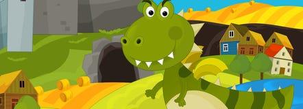 Tecknad filmillustration - den gröna draken Fotografering för Bildbyråer