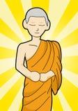 Tecknad filmillustration för buddistisk munk vektor illustrationer