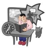 Tecknad filmillustration med den bekymrade unga mannen stock illustrationer