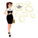 Tecknad filmillustrationen av affärskvinnan med tomt anförande bubblar Royaltyfri Foto