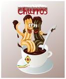 Tecknad filmillustrationen av den traditionella spanska bakelsen kallade churros Arkivfoton