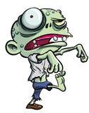 Tecknad filmillustration av den gulliga gröna zombien Royaltyfri Bild
