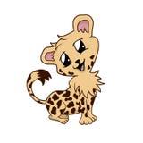 Tecknad filmillustrationen av ett gulligt lyckligt behandla som ett barn den isolerade geparden - Royaltyfria Foton