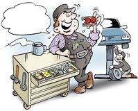 Tecknad filmillustrationen av a-mekanikern som har lunch, skjuter in i hjälpmedelkabinettet Royaltyfria Bilder