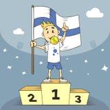 Tecknad filmillustrationmästare av Finland med flaggan i hans hand vektor illustrationer