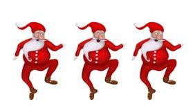 Tecknad filmillustrationuppsättning av rolig tre jul Santa Clauses Arkivfoto