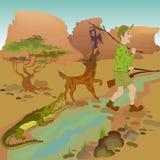 Tecknad filmjägare med fågeln, vargen och alligatorn Arkivfoton