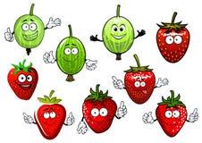 Tecknad filmjordgubbe- och krusbärfrukter Royaltyfria Bilder