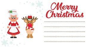 Tecknad filmjul hjortar och mrs santa på julbokstaven till santa stock illustrationer