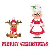 Tecknad filmjulhjortar med mrs santa myra text stock illustrationer