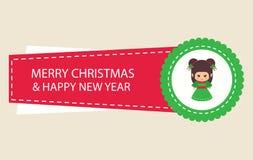 Tecknad filmjulklistermärke med julälvan Fotografering för Bildbyråer