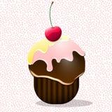Tecknad filmkaka med körsbäret Royaltyfri Foto