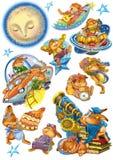 Tecknad filmkaniner i olika lägen stock illustrationer